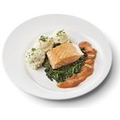 Culivers gebakken zalmfilet met Normandische saus, bladspinazie en aardappelpuree met bieslook gluten- en lactosevrij voorkant