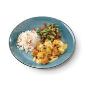 Culivers (21) kip korma, sperziebonen met paprika, amandel en witte rijst achterkant