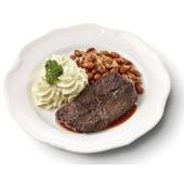 Culivers (11) sucadelapje met jus, bruine bonen met spek en aardappelpuree voorkant