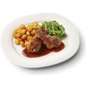 Culivers (28) drumsticks in kippenjus, met sperziebonenen en gebakken aardappeltjes  voorkant