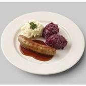 Culivers (42) verse worst met jus, rode kool met appeltjes en aardappelpuree voorkant