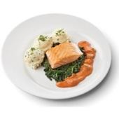 Culivers (45) gebakken zalmfilet met Normandische saus, bladspinazie en aardappelpuree met bieslook  voorkant