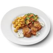 Culivers (46) kibbeling met ravigotesaus, Mexicaanse groenten en gebakken krieltjes voorkant