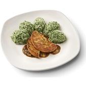 Culivers (53) groenteburger met peterseliesaus en uitjes en spinaziestamppot voorkant