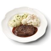 Culivers (73) sucadelapje met jus, bloemkool à la crème en aardappelpuree met bieslook  voorkant