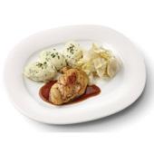Culivers (80) kipfilet in kippenjus, gestoofde witlof en aardappelpuree met tuinkruiden voorkant