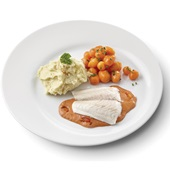 Culivers (98) pangafilet in Provençaalse saus, Parijse worteltjes en aardappelpuree zoutarm voorkant
