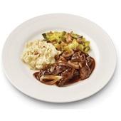 Culivers (3) zoete stoofpot van rundvlees met puree en gesmoorde prei voorkant