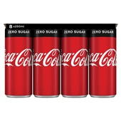 Coca Cola zero 8 x 250 ml voorkant