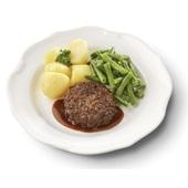 Culivers (13) rundertartaartje met jus, sperziebonen en gekookte aardappelen voorkant