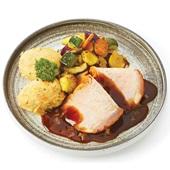 Culivers (2) Ardeens gebraad in stoofsaus met gegrilde groentemix en zoete aardappelpuree    voorkant