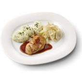 Culivers (28) kipfilet met kippenjus, gestoofde witlof naturel en aardappelpuree met tuinkruiden voorkant