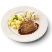 Culivers (35) halskarbonade in jus, witlof met spek en gekookte krieltjes voorkant