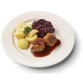 Culivers (36) gehaktballen in jus, rode kool met appeltjes en gekookte aardappelen  voorkant