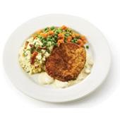 Culivers (40) Varkensschnitzel in champignonsaus, doperwtjes-worteltjes en aardappelpuree met spekjes en bieslook  voorkant