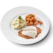 Culivers (46) pangafilet in Provençaalse saus, Parijse worteltjes en aardappelpuree  voorkant