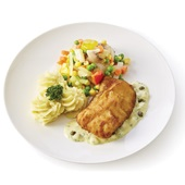 Culivers (48) lekkerbekje met ravigotesaus, fijne groenten en aardappelpuree  voorkant