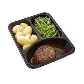 Culivers (72) rundertartaartje met jus, sperziebonen en gekookte aardappelen zoutarm  achterkant