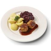 Culivers (80) gehaktballen in jus, rode kool met appeltjes en gekookte aardappelen  zoutarm voorkant