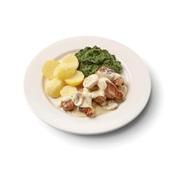 Culivers (83) varkenshaasstukjes in champignonsaus met spinazie à la crème en gekookte aardappelen voorkant
