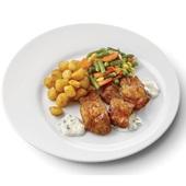 Culivers (85) kibbeling met ravigotesaus, Mexicaanse groenten en gebakken krieltjes zoutarm voorkant