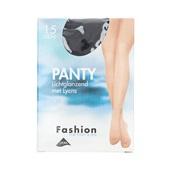 Foot-Leg panty lichtglanzend zwart maat 48-52, 15 denier voorkant