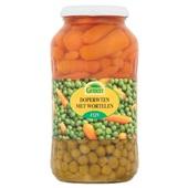 Green doperwten en wortelen voorkant