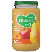 Olvarit baby/peuter fruithapje peer, appel en abrikoos voorkant