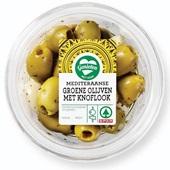 Spar groene olijven met knoflook voorkant