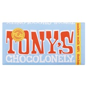 Tony's chocolonely chocoladereep donkere melk 42% voorkant