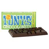 Tony's chocolonely chocoladereep puur amandel zeezout achterkant